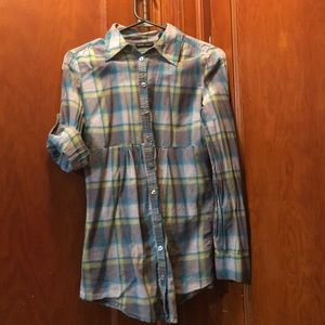 Blue Plaid NY and Company Button Up